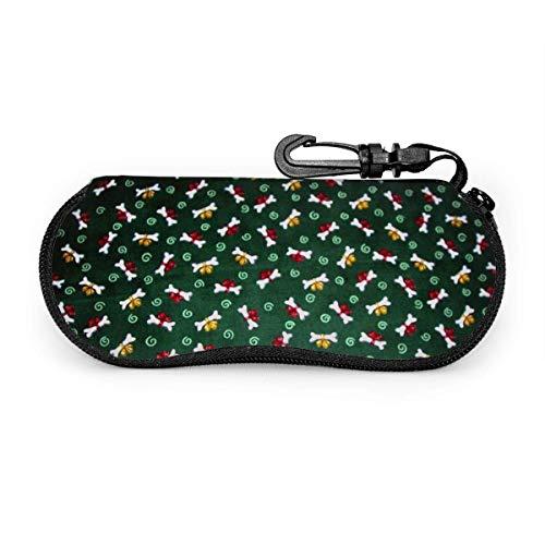Gafas de sol verdes de calavera para perros con hebilla de bloqueo Bolsa suave Funda de gafas con cremallera de tela de buceo ultraligera