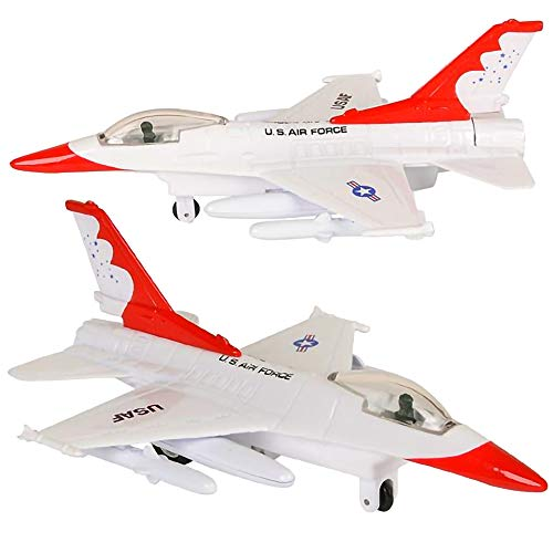 ArtCreativity Diecast F-16 Fighting Falcon Jets with Pullback Mechanism, Set of 2, Die Cast Metal Jet Plane Fighter Toys for Kids, Air Force Military Cake Decorations, Aviation Party Favors