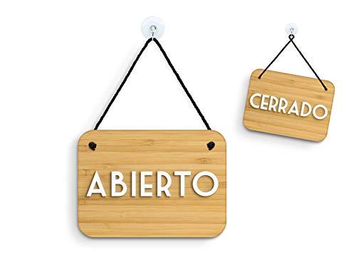 3DP Signs - Bambù Retrò Vintage - Abierto/Cerrado - Cartel Doble Cara Signo OC16 - Placa de la Puerta Colgante de Doble Cara - Letrero de la Tienda Comercial Reversible