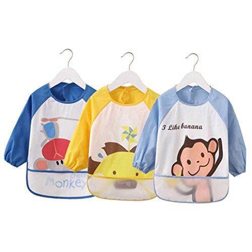 Cute Cartoon Unisex Infant Toddler Baby Waterproof Sleeved Bib, Baby Toddler Smock (6 Months-3 Years) (blue)