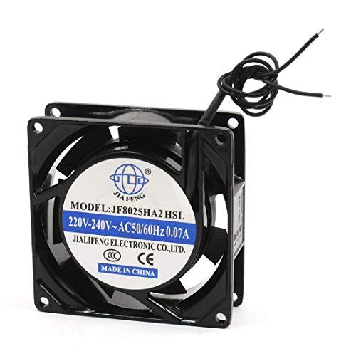 Ventilador de enfriamiento de flujo axial de CA con marco metálico de 2 cables DyniLao, 220 V - 240 V, 0.07 A, 80 mm x 80 mm x 26 mm