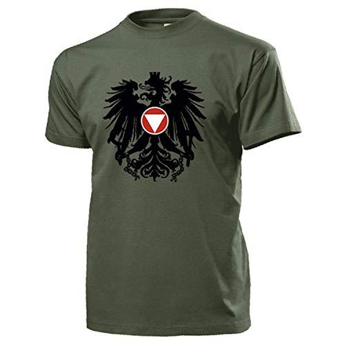 Bundesheer Österreich Adler Wappen Logo Abzeichen Heer Militär - T Shirt #14517, Größe:L, Farbe:Oliv