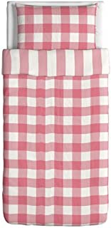IKEA Emmie Ruta Duvet Cover and Pillowcase, Pink/White, Twin