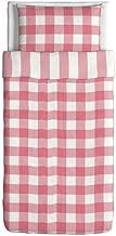 IKEA Emmie Ruta Duvet Cover and Pillowcase, Pink/White, Twin