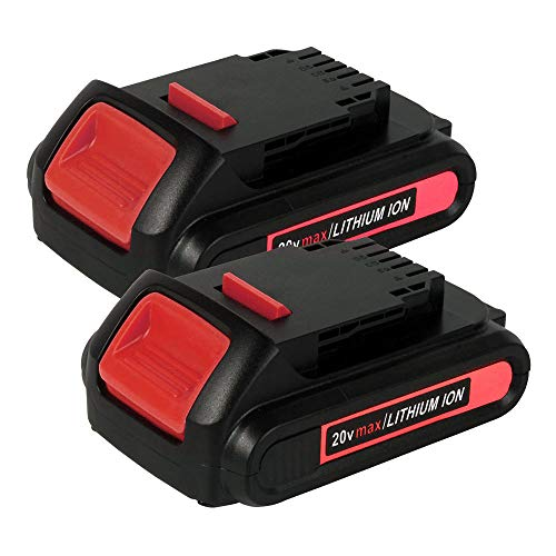 2Pack 20V 2.0Ah DCB201 Battery Replace for Dewalt 20V Battery Lithium MAX DCB204 DCB200 DCB206 DCB205 DCB203 20V DCD/DCF/DCG/DCS Compatible with Dewalt 20v Series Tools Batteries