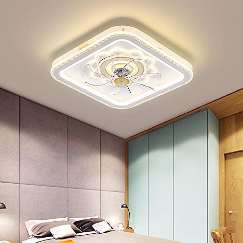 Ventilador Techo Con Luz Led Y Mando Sala Lamparas Ventilador De Techo Regulable 3 Velocidades, Para Dormitorio Cocina Habitacion 60W Led Ventiladores Con Luz