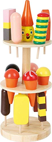 Small Foot Wooden Toys Ice Cream Stand Complete Playset with 15 Ice Cream Cones Designed for Children Ages 3+ Years