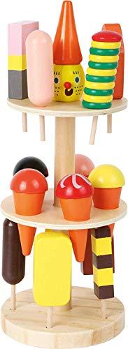 Small Foot 5261 Marchande glacier en bois, accessoires pour magasin et cuisine enfant, avec 15 sortes, à partir de 3 ans