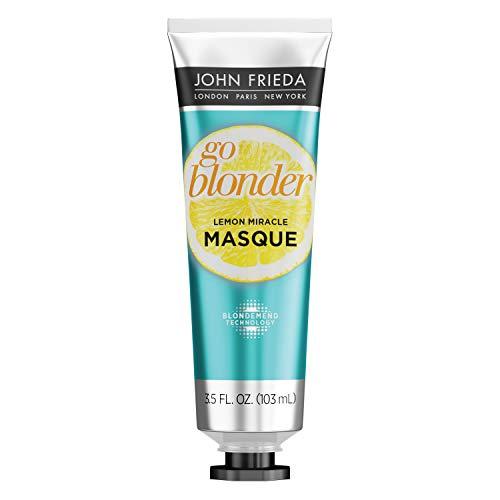 John Frieda Go Blonder Lemon Miracle Masque, In-shower Hair Treatment, Helps Strengthen Lightened Hair Fibers, 3.5 Ounce
