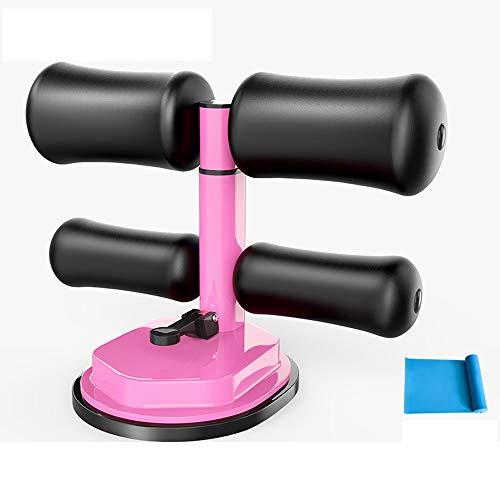 LLYU Barra para sentarse, diseño mejorado con ventosa para sentarse, multifunción, con cómodo tobillo acolchado y soporte para el trabajo en casa o viajes con banda de tensión (color: rosa B)