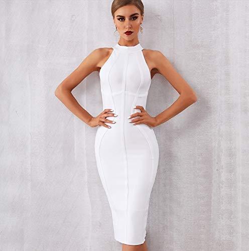 JJHR Kleider Sommer Weiße Frauen Bandage Kleid Elegante Tank Ärmellose Bodycon Club Kleider Celebrity Party Kleid, S