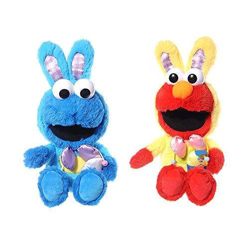 dingtian Plüschtier Set Von 2 Stück 9 cm New Easter Dress Up Kaninchen Elmo Cookie Monster Plüsch Puppe Plüschtier Kindergeschenk