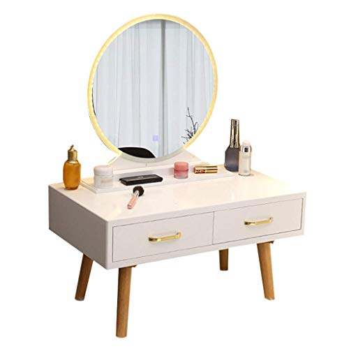 Daily Equipment Vanity Table Dressing Table Small Vanity Table with Lighted LED Touch Screen Round Mirror Makeup Dressing Table with 2 Sliding Drawers for Bedroom Bathroom (White) Vanity Set with (