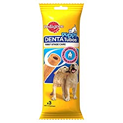 Pedigree DentaTubos puppy chews have a distinct shape and texture specially designed to be kind to a puppy's developing teeth and gums because chewing on anything too hard could damage their teeth Tasty Pedigree Puppy DentaTubos dental treats are ric...