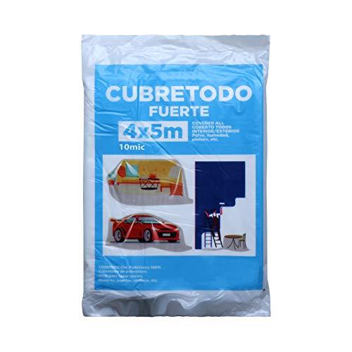 Plástico Cubretodo Protector Multiuso para tapar Suelos, muebles, puertas, ventana Interior y Exterior (4x5 m, 10 Micras Fuerte 1 pieza)
