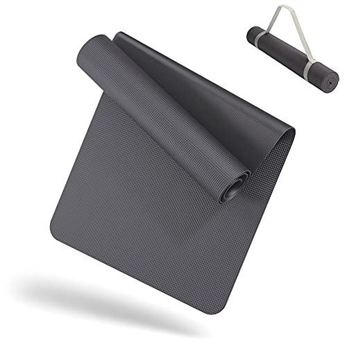 LILENO SPORTS Yoga Matte Anthrazit (180x60cm) inkl. Tragegurt - Sport und Yogamatte extra rutschfest in 4 mm Dicke - Gymnastikmatte und Fitnessmatte für Workout und Yoga - Sportmatte für Zuhause