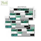 Sticker de marbre noir et blanc Sticker mural Sticker Wallpaper Résuré à l'huile Peel & Stick pour salle de bain Cuisine Backsplash Plancher (Color : Green agate marble, Size : 10x20cmx9pcs)