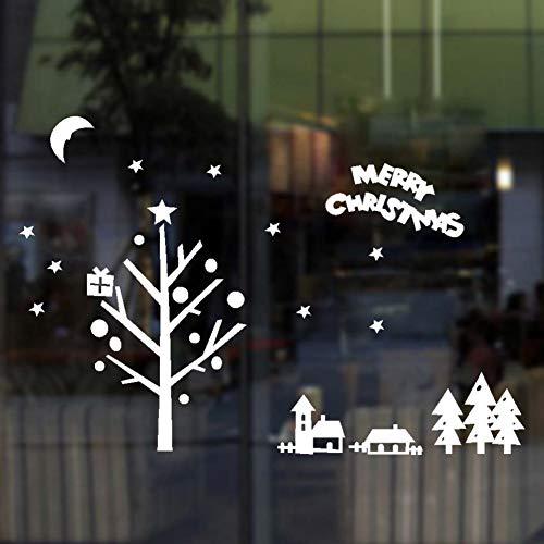 XUKANG Pegatinas de Pared de Trineo de Renos para Tienda, decoración del hogar, calcomanías de Ventana DIY, Temporada de Festival de Navidad, Arte de Pared de Vinilo