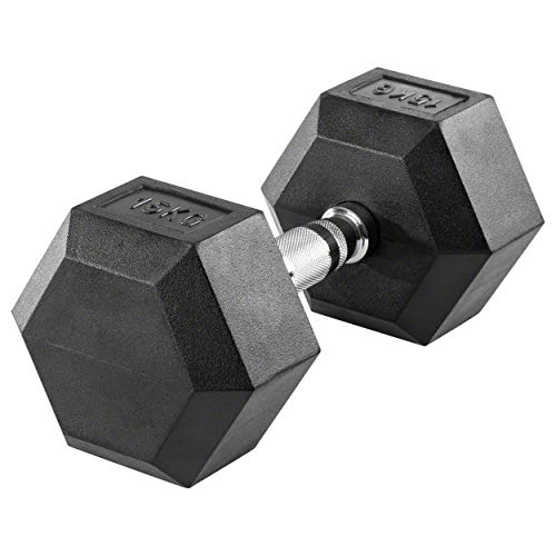 Sport-Tec Hex Kompakthantel aus Gummi, 15 kg, Hexagon-Hantel
