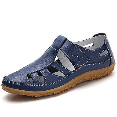 Z.SUO Women's Leather Sandals Flats Comfortable Casual Summer Walking Driving Shoes Fashion Wild Loafers Moccasins Outdoor Sandals(5.5 US,Navy blue.1)
