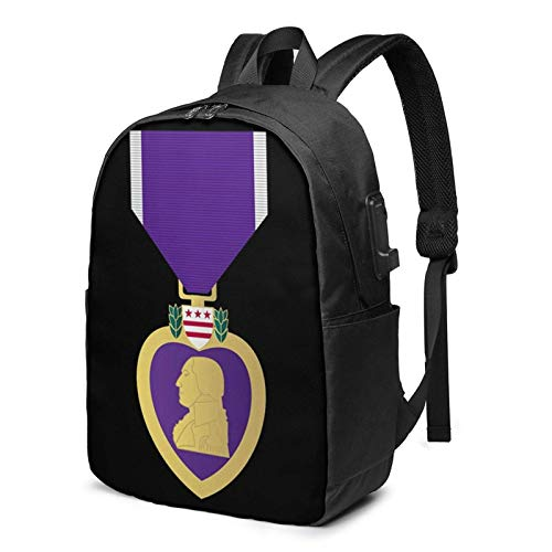 Lawenp Purple Heart USB Backpack 17 Inch Laptop Backpack Business Travel College School Backpack