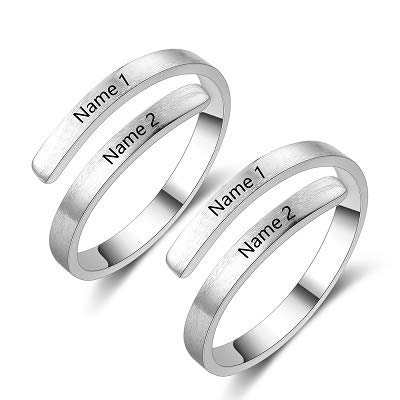 Personalised Silver Toe Rings for Women Men - Couple Promise Ring for Her...