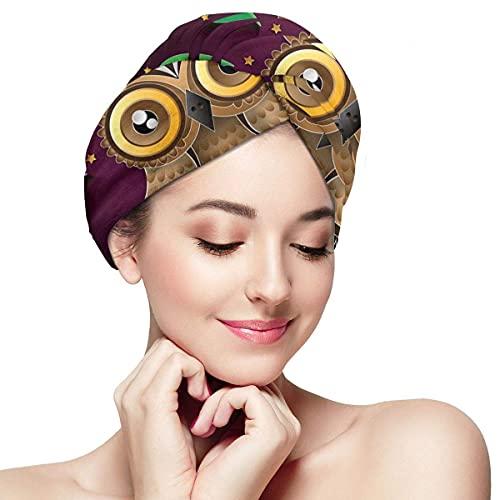 Toalla de secado de pelo para mujer, turbante con botón búho arte rama suave absorbente de microfibra envuelta para cabello largo y rizado