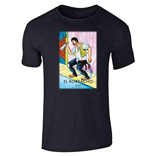 Pop Threads El Borracho Drunk Loteria Card Mexican Bingo Black S Graphic Tee T-Shirt for Men