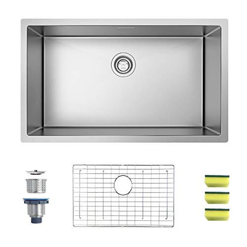 MENSARJOR 30'' x 18'' Single Bowl Kitchen Sink 16 Gauge Undermount Stainless Steel Kitchen Sink, Bar...