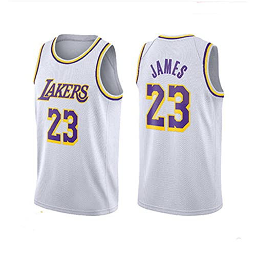 NBA Chaleco Camiseta Lakers No. 23 Jersey Hombre Blanco Cuello Redondo Casual Baloncesto Manga Corta, XXL