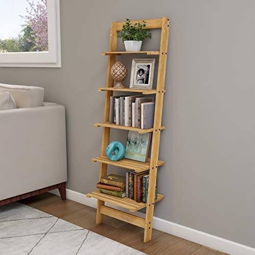 Home Décor 5-Tier Decorative Leaning Ladder Book Shelf, Blonde