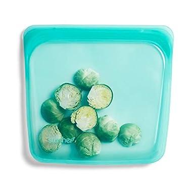 Stasher 100% Silicone Reusable Food Bag, Sandwich Storage Size, 7-inch (15-ounce), Aqua