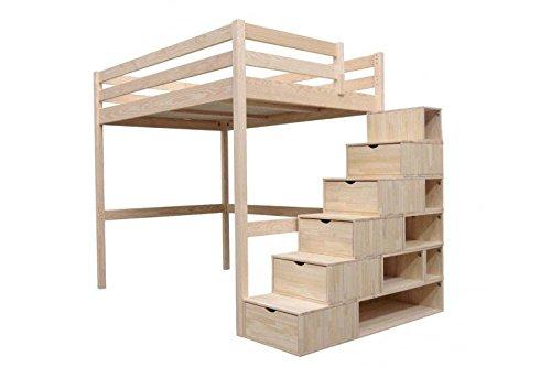 ABC Möbel–Hochbett Sylvia 160x 200+ Treppe Cube Brut