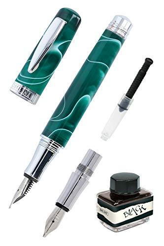 ONLINE Juego de caligrafía bohemia Art Verde I Pluma de resina y acrílico I Plumas intercambiables M (medio) y 1,4 mm I Incluye convertidor de tinta y tintero negro I En caja de regalo
