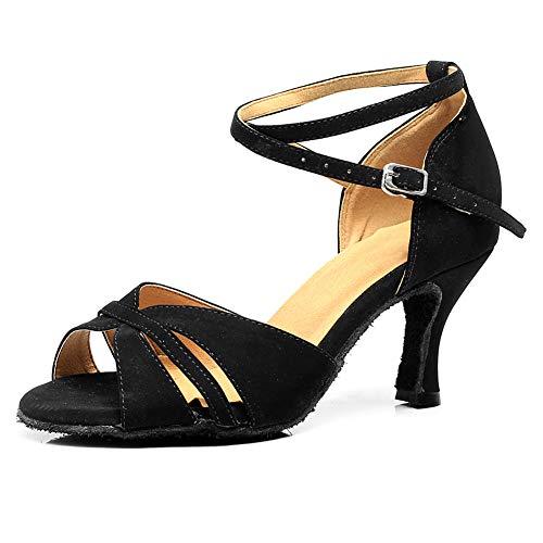VCIXXVCE Zapatos de Baile Latino para Mujeres-Correa de Tobillo Rendimiento Salsa Fiesta Zapatos de Baile Tacón Alto,Negro,EU 36