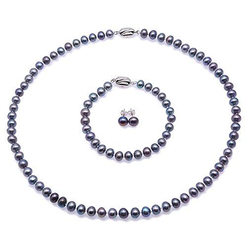 JYX Suesswasser Perlenkette peacock perle halskette Perlen Schmuckset Damen - Feine 7-8mm Grau Blau Süsswasser Perlenkette Lang, Armband, Ohrringe gesetzt18.5'