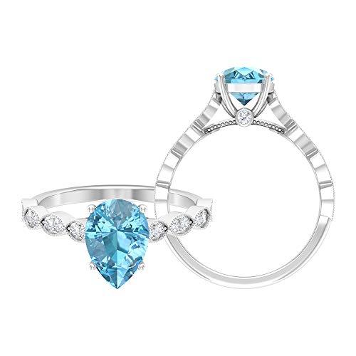 Anillo solitario de aguamarina con corte de pera, 7 x 10 mm, anillo de piedra lateral de moissanita D-VSSI, anillo de compromiso de oro (calidad AAA), 14K Oro blanco, aguamarina, Size:EU 60