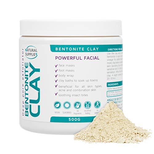 Argile bentonite 500g Aztec Indian Healing Clay Deep Pore Cleansing 100% Pure Calcium Bentonite Clay   Nettoyage, détoxification et revitalisation des pores de la peau profonde. (500g)