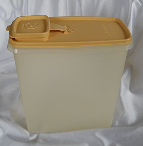 Vintage Tupperware Cereal Keeper, Frosted Container with Golden Harvest Lid