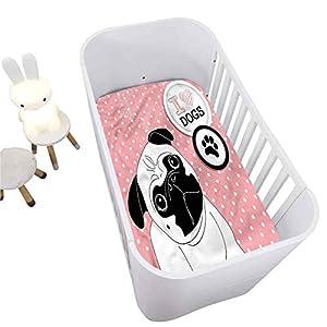 Pug Crib Fitted Sheet,I Love Dogs Paw Print Logo Decorative Microfiber Crib Sheet for Standard Crib and Toddler mattresses Nursery Bedding Sheet Crib Mattress Sheets for Boys and Girls,28″ x 52″