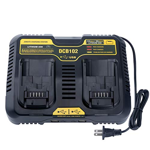 Lasica DCB102BP 20V Dual Port Charger Replacement for DEWALT 12/20-Volt MAX Jobsite Charging Station DCB112 DCB118 DCB107 Dewalt 20V/60V MAX Battery DCB205-2 DCB206-2 DCB204 DCB203 DCB606-2 DCB609-2