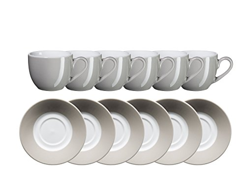 Domestic By Mäser, Serie Kitchen Time, Tazzina da Espresso 9CL con piattino, in Confezione da Set, nel Colore Grigio