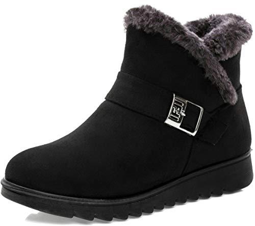Stivali Donna Invernali Scarpe Stivaletti da Neve con Imbottitura Calda Stivali alla Caviglia Caldi Boots Scarpe Nero -C 38 EU/245CN