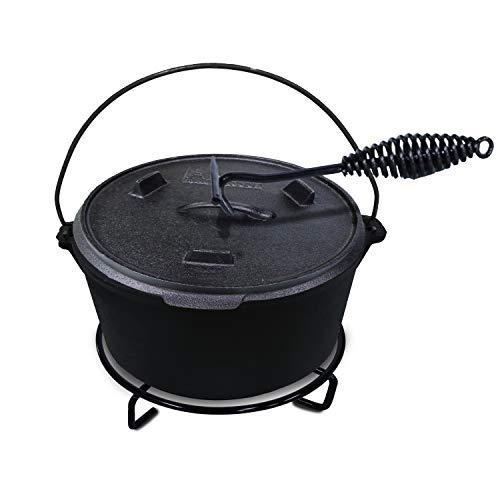 ACTIVA BBQ Dutch Oven Topf ca. 10 Liter Ø 37 cm aus schwarzem Gusseisen - inkl. Deckel - mit Henkel zum Tragen, Gusseisen Topf