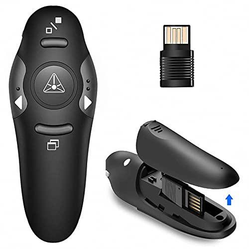 Drahtloser USB Presenter PPT-Fernbedienungs-Presenter-Stift, 2,4 GHz PowerPoint-Präsentations-Clicker, Rotlichtzeiger PPT Remote Control Presenter-Flip-Pen für Schule oder Büro (schwarz)