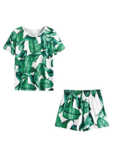 SweatyRocks Women's Soft Pajama Sets Tropical Print T Shirt and Short Sleepwear Pjs Sets Green L