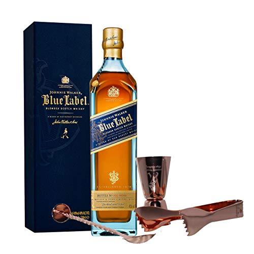 Johnnie Walker Blue Label Set con Cubiertos para Bar, Whisky Blended Wisky, Scotch, Alcohol, Botella de 40%, 700 ml