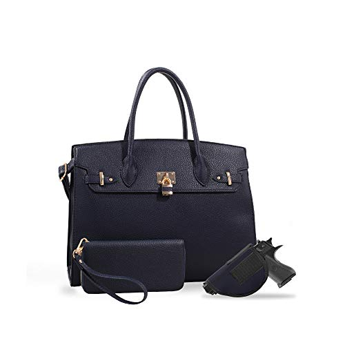 Jessie & James | Jane Lock & Key Concealed Carry Satchel Set with Matching Wallet | Faux Leather Firearm Locking Purse | Womens Self-Defense Accessory | NV