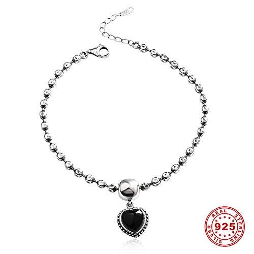 Schwarzer Achat Damen Fußkettchen 925 Silber Hand Made Einstellbar Fusskette Retro Fußschmuck Hochzeitstagsgeschenk