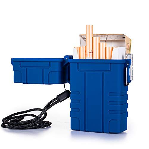Zigarettenetui, integriertes Feuerzeug, USB wiederaufladbar, elektrisches Feuerzeug für ganze Zigaretten, 20 Stück, wasserdicht, für Outdoor, Camping, Wandern (blau)